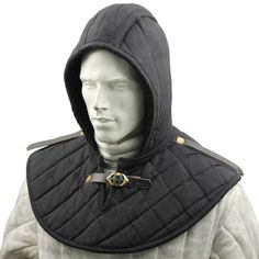 Medieval  Cotton Padded Collar & Cap for under mail Armor AND CAP Black