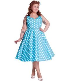 Hell Bunny 50's Mariam Polka Dot Dress Aqua