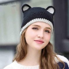 Black cat beanie hat with ears for women winter knit hats 152f48698222