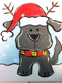 Cute puppy dog canvas paint idea for wall decor. Canvas painting. Wall art. Merry Christmas. Winter. Red, black and white. Dog reindeer.