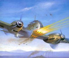 """Me-410 """"Zerztorer"""" w/ belly quad 23mm gun-pack."""