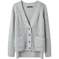 Rag & Bone Lund Cardigan ($203) ❤ liked on Polyvore featuring tops, cardigans, sweaters, outerwear, jackets, thick knit cardigan, light grey cardigan, rag bone cardigan, deep v neck top and cardigan top