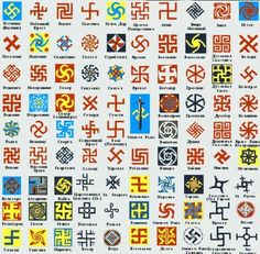 Slavorum - variations of the swastika - ancient symbol of immortal time - evolution and involution