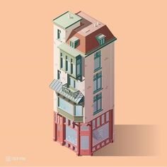 Affinity Designer in combination with Illustrator is amazing for isometric stuff! Love this little old building in the centre of Amsterdam (Herengracht Check out the attachment to see all . Isometric Shapes, Isometric Map, Isometric Drawing, Isometric Design, Building Illustration, House Illustration, Illustration Styles, Low Poly, Blender 3d