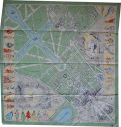 Map of Versailles as silk scarf