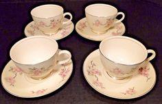 Homer Laughlin Eggshell Nautilus Apple Blossom Tea Cup Saucer Sets FOUR RARE! #HomerLaughlin