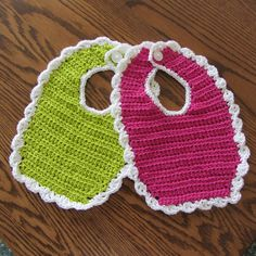 Crocheted baby bibs. Find pattern at: http://www.favecrafts.com/Crochet-for-Baby/Lace-Trim-Baby-Bid-Crochet-Pattern