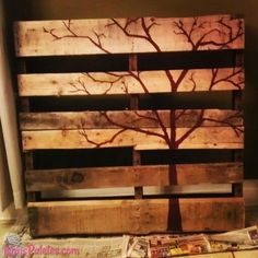 20 Brilliant DIY Pallet Furniture Design Ideas to Inspire You - diy pallet creations Arte Pallet, Pallet Barn, Pallet Crates, Wood Pallets, Painted Pallets, Pallet Fence, Painted Wood, Wood Pallet Recycling, Recycled Pallets