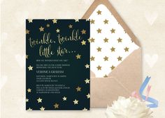 Twinkle Twinkle Little Star Baby Shower Invitations! From only $1.10 each! Personalise yours today & receive your printed order as fast as tomorrow! #baby #babyshower #babytrends