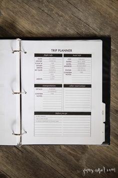 Editable Trip Planner for your Homekeeping Binder