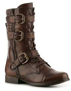 shoes boots combat boots brown boots grunge punk buckle boots lace up boots hipster badass firefly adventure brown leather boots brown high buckles leather zip Shoes Boots Combat, Buckle Boots, Shoe Boots, Biker Boots, Motorcycle Boots, Flat Boots, Ugg Boots, Brown Leather Boots, Brown Boots