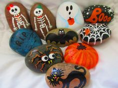 Hand-painted Halloween rocks. GHOST BAT BLACK CAT SKELETON BOY SKELETON GIRL R.I.P. PUMPKIN SPIDER SPIDERWEB BOOO Size : 1.5 - 2.5 inch The listed Price is for ONE rock. Please send me a message with your selection. Available till supplies last... $6 Discount price and lower Shipping cost available if you order 5 rocks or more. Please contact me before you place the order. Thank you for visiting my PlaceForYou shop