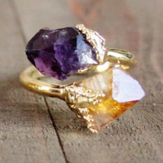 Amethyst and citrine raw gemstone ring. This beauty is made from small, rough cuts of amethyst and citrine stone plated in 24k gold on an adjustable band. Handmade by Ewelina in her Roselle, NJ studio