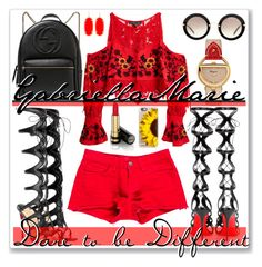 """""""Little Red #Contest"""" by gabriellaaudiamarie on Polyvore featuring Christian Louboutin, Miu Miu, J Brand, Salvatore Ferragamo, Gucci, For Love & Lemons, Kendra Scott and Casetify"""
