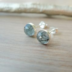 Sterling Silver Rutilated Quartz Studs Faceted by SilverMooseArts