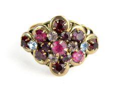 Large Bold Deco Baroque Regency Red Purples Vintage Gold Cocktail Statement Ring