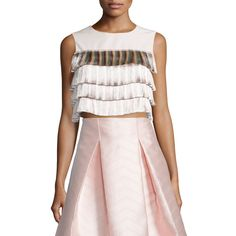 Alexis Jason Tiered-Fringe Crop Top ($111) ❤ liked on Polyvore featuring tops, light pink, light pink sleeveless top, light pink top, fringe tops, cropped tops and pink crop top