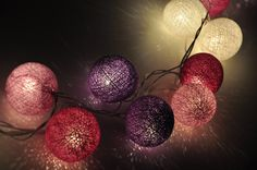 Purple tones cotton ball string lights for Patio,Wedding,Party and Decoration (20 bulbs). $13.50, via Etsy.