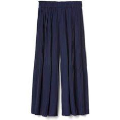 Gap Women Pleated Wide Leg Pants ($55) ❤ liked on Polyvore featuring pants, dark night, regular, wide leg trousers, elastic waist pants, blue trousers, pleated wide leg pants and pleated wide leg trousers