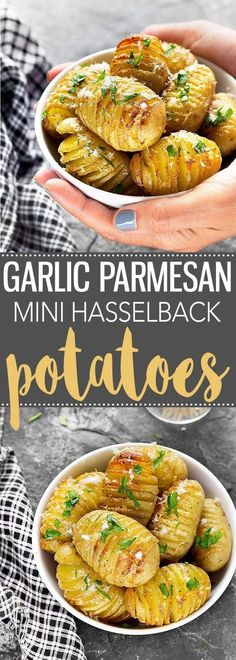 Garlic Parmesan Mini Hasselback Potatoes - a simple and elegant sliced potato bake side dish or appetizer that will impress your guests! via /easyasapplepie/