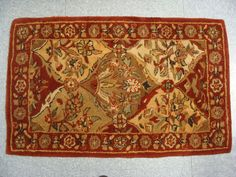 Wool Area Rug Hand Tufted  Made in India Rust Green Cream Vintage Heavy EUC