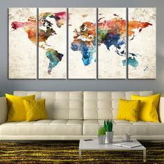 xl 3 panels world map travel art print poster photo paper abstract watercolor old wall decor home frame is not included free shipping usa