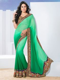 Green Georgette Saree With Stone And Resham Work