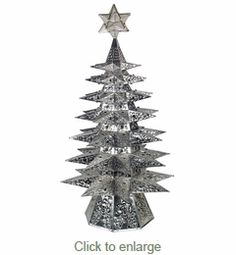 Lighted Punched Tin Star Christmas Tree with Marbles - Aged Tin ...