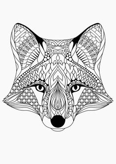 Coloring for adults, love this little #fox! #adultcolouring #zentangle:
