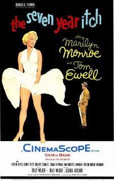 """June 3, 1955: The comedy """"The Seven Year Itch,"""" starring Marilyn Monroe and Tom Ewell, and directed by Billy Wilder, premieres in theaters. The movie contains one of the most iconic images of the 20th century: Monroe standing on a subway grate as her white dress is blown by a passing train."""