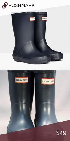 Hunter Boots SZ 5 KIDS! SUPER CUTE KIDS HUNTER BOOTS! He won't miss a puddle in these adorable navy Hunter boots!  Made form natural rubber Quick dry lining Waterproof  Preowned some wear on the heels Please see pictures before purchasing Hunter Shoes Rain & Snow Boots