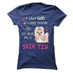 GOD SENT ME A SHIH TZU AS A TRUE FRIEND T Shirts, Hoodies. Check price ==► https://www.sunfrog.com/Pets/GOD-SENT-ME-A-SHIH-TZU-AS-A-TRUE-FRIEND-3031-NavyBlue-31254977-Ladies.html?41382 $24.99