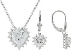 Bella Luce(R) 7.06ctw Rhodium Plated Sterling Silver Earrings And Pendant With Chain Set