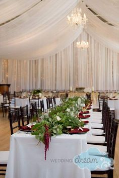 Tent ceiling draping with mahogany chiavari chairs