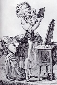 The Old Coquette - 1775 - German Caricature - Eighteenth Cnetury Undwear - Stays and Corsets -Side Hoops - Hip Hops - What the duchess might...