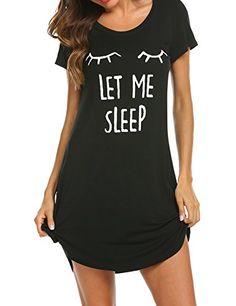 Hotouch Sleepwear Women's Nightgown Cotton Sleep Shirt Printed Short Sleeve Scoopneck Sleep Tee Nightshirt S-XXL – Shopping Guide Lingerie, Women's Sleep Shirts, Sleep Dress, Nightgowns For Women, Sleepwear Women, Cotton Sleepwear, Nightwear, Night Gown, Amazing Women