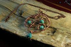 Μενταγιον με συρμα χαλκου και χαντρες κρυσταλλα - Pendant with copper – Handmade Greek Jewellery