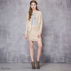 Autumn Vintage Fringe Sleeve Beige Cardigan Jacket
