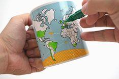 Caneca do viajante tem mapa pra você pintar os lugares que já visitou