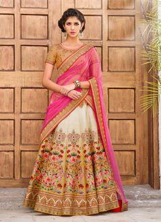 Admirable Beige and Pink Designer Lehenga Coli Lehenga Gown, Party Wear Lehenga, Bridal Lehenga Choli, Ghagra Choli, Lehenga Suit, Lehenga Wedding, Kalamkari Saree, Indian Lehenga, Anarkali Suits
