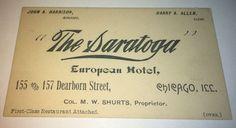 Rare Antique Victorian American Saratoga European Hotel, Illinois Trade Card! US #TheSaratogaEuropeanHotel