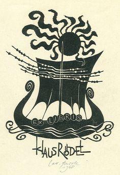 Klaus Rödel's bookplate (or ex libris), by Ladislav Rusek, 1968.