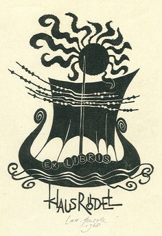 Klaus Rödel's bookplate (or ex libris), by Ladislav Rusek, 1968.