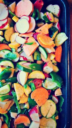 Seasoned & Roasted Vegetables – Simply Taralynn : garlic olive oil, swap red peppers for green