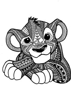 Love the concept of tribal in a character or animal zentangles disney - Buscar con Google