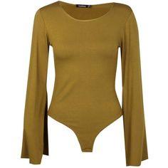 Boohoo Martha Flared Sleeve Bodysuit (140 MAD) ❤ liked on Polyvore featuring intimates and shapewear