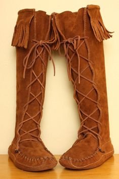 Tall Minnetonka Fringe Moccasin Boots in Brown by pineapplemint