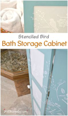 Updated bath storage cabinet with DIY frosted glass inserts and cascading stenciled birds and twigs.  It looks fresh and clean in our new  master bath www.H2OBungalw.com #ThemedFurnitureMakeoverDay #paintedfurniture