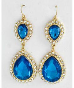 432332 Gold Tone / Blue Zircon Acrylic / Clear Rhinestone / Lead Compliant / Tear Drop Dangle / Fish Hook Earring Set