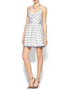 Perfect for picnicking & brunching \\ Line & Dot Jacquard Striped Chevron Fit N Flare Dress